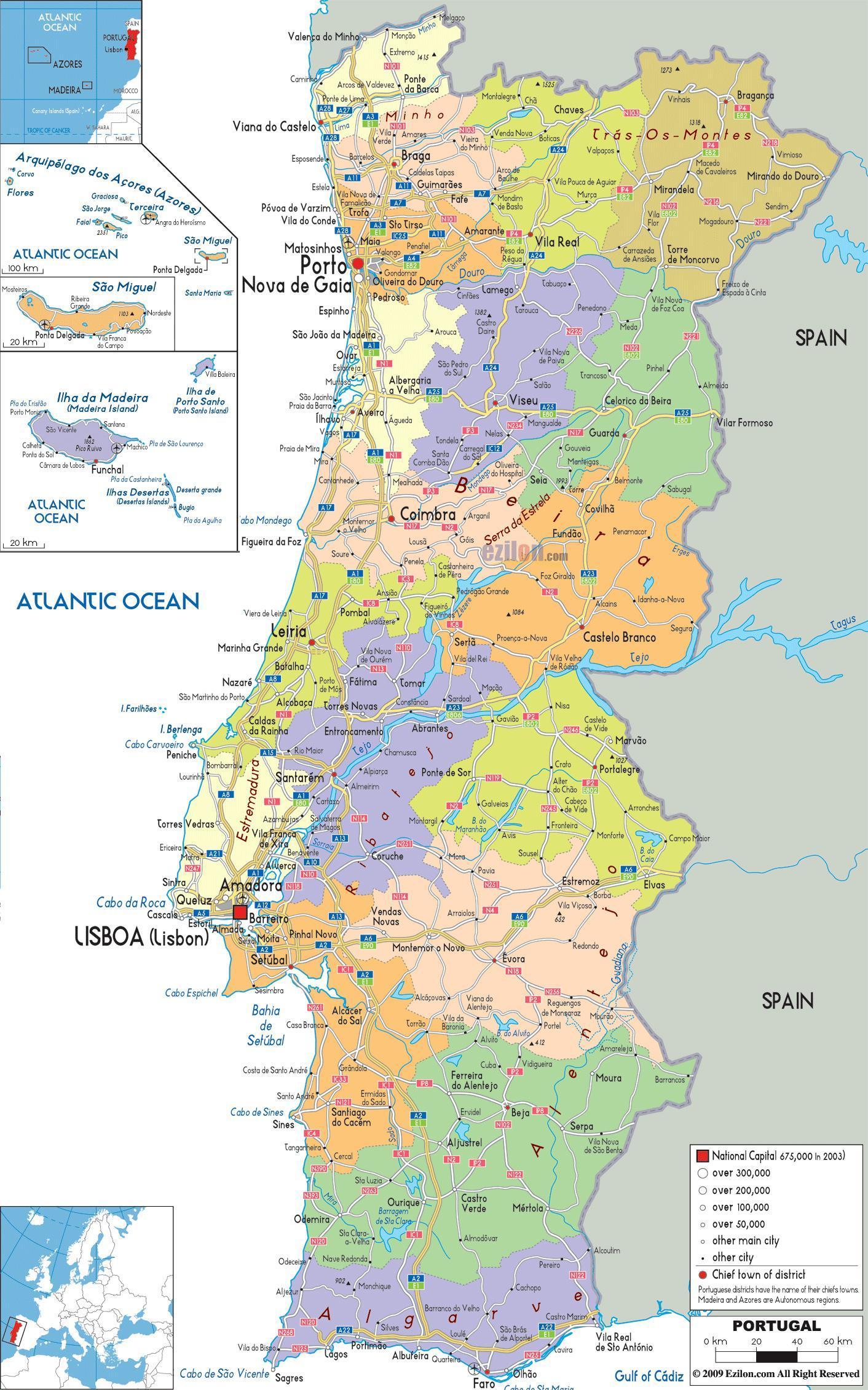 Mapa Portugalii Z Miastami Mapa Portugalii Z Miastami Europa